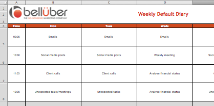 Free weekly default diary template