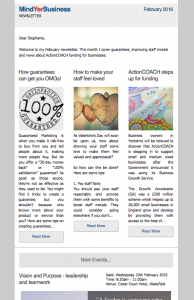 e-newsletter for business coach