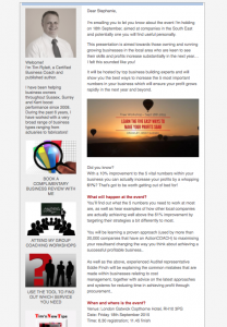 e-newsletter for business coach sussex