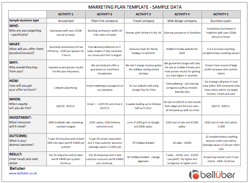 free marketing plan template belluber marketing